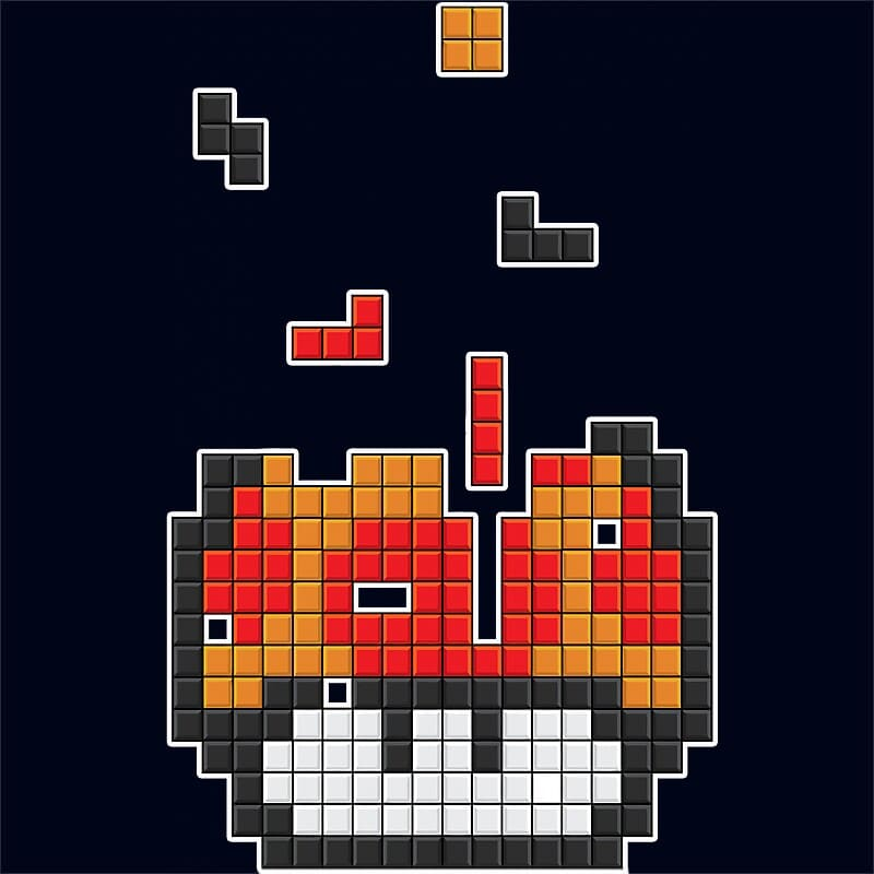 Flat Mushroom Tetris Póló - Ha Gamer rajongó ezeket a pólókat tuti imádni fogod!
