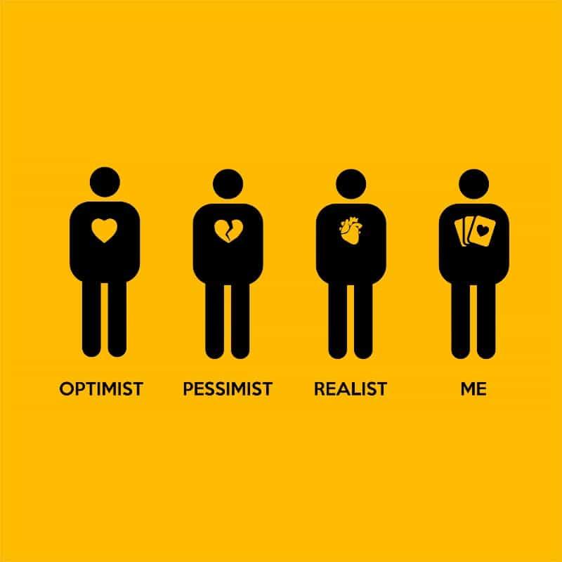 Optimist Pessimist Realist Poker Póló - Ha Poker rajongó ezeket a pólókat tuti imádni fogod!