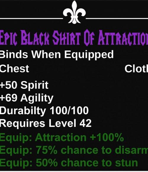 Epic Black Shirt Of Attraction Póló - Ha World of Warcraft rajongó ezeket a pólókat tuti imádni fogod!