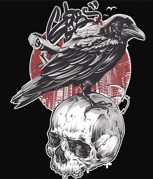 Raven skull Póló - Ha Skulls rajongó ezeket a pólókat tuti imádni fogod!