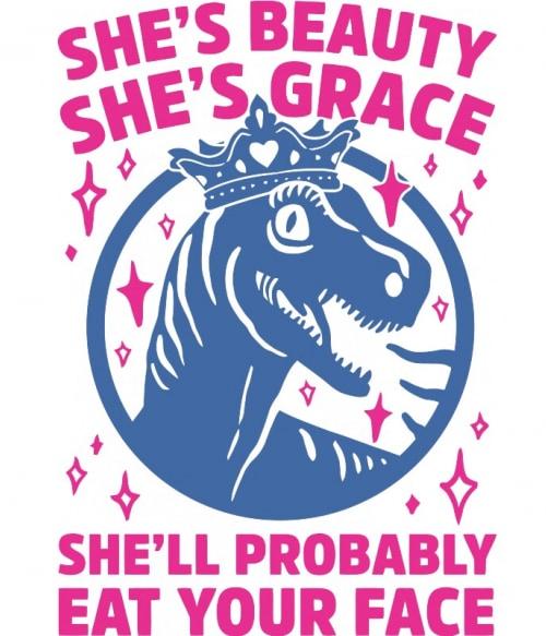 She is beauty Póló - Ha Jurassic Park rajongó ezeket a pólókat tuti imádni fogod!