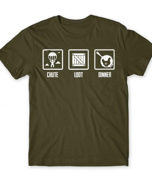 Chute Loot Dinner Póló - Ha Playerunknowns Battlegrounds rajongó ezeket a pólókat tuti imádni fogod!