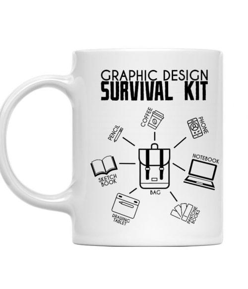 Graphic design survival kit Póló - Ha Graphic Designer rajongó ezeket a pólókat tuti imádni fogod!
