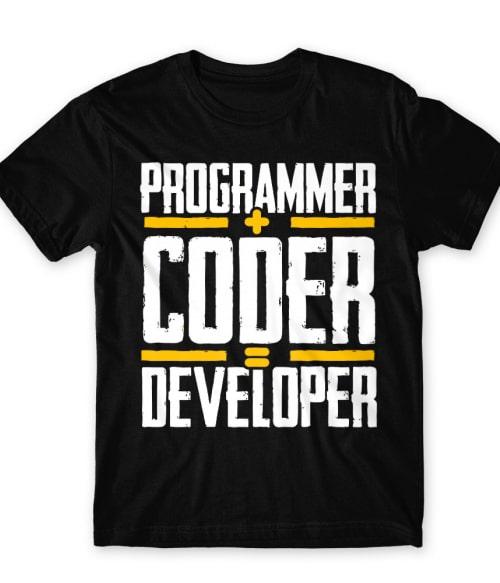 Programmer + coder = developer Póló - Ha Programming rajongó ezeket a pólókat tuti imádni fogod!