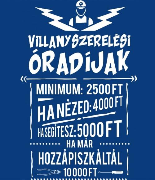 Villanyszerelési óradíjak Póló - Ha Electrician rajongó ezeket a pólókat tuti imádni fogod!