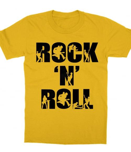 Rock 'N Roll Text Silhouette Póló - Ha Rocker rajongó ezeket a pólókat tuti imádni fogod!