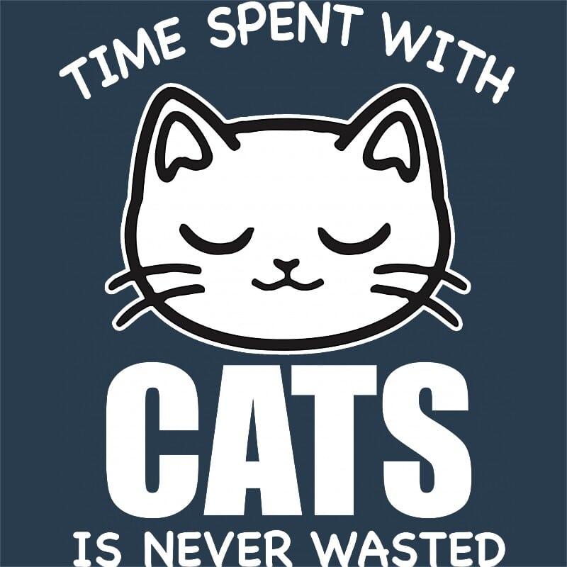 A macskákkal töltött idő sosem elvesztegetett Póló - Ha Cat rajongó ezeket a pólókat tuti imádni fogod!