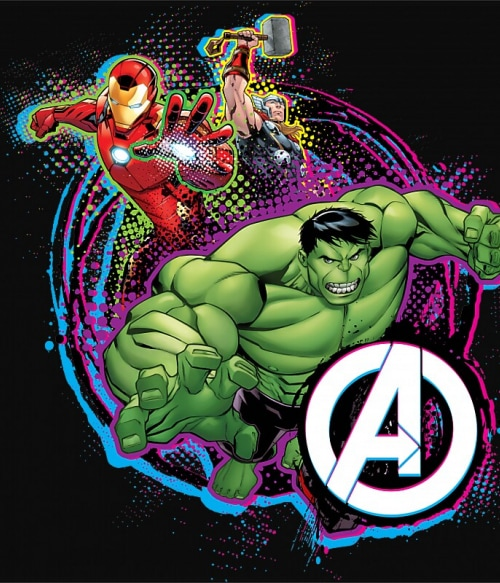 Avengers Team Neon Póló - Ha Avengers rajongó ezeket a pólókat tuti imádni fogod!