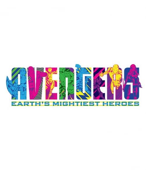 Avengers Neon Text Póló - Ha Avengers rajongó ezeket a pólókat tuti imádni fogod!