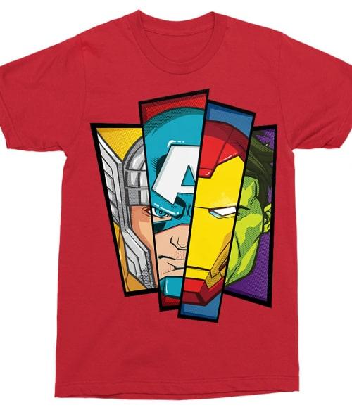 Avengers Faces Póló - Ha Avengers rajongó ezeket a pólókat tuti imádni fogod!