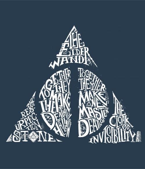 Deathly hallows text Póló - Ha Harry Potter rajongó ezeket a pólókat tuti imádni fogod!